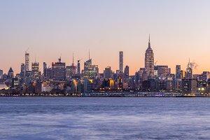 Illuminated Manhattan Cityscape in