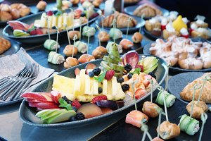 Various food on catering table