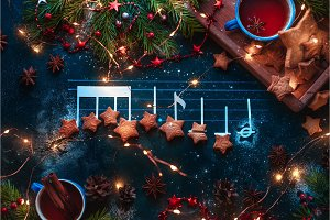 Christmas melody notes flat lay with
