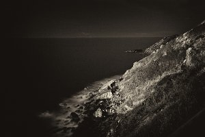Cliff night in black and white