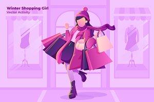 Winter Shopping - Vector Illustratio