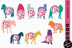 Pony Svg, Monogram Svg, Circle Frame