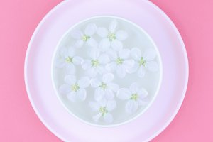 White flowers floating in water
