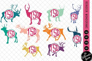 Reindeer Svg, Monogram Svg, Circle F