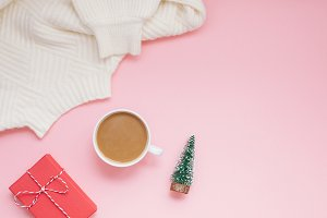 Coffee sweater and red present pink