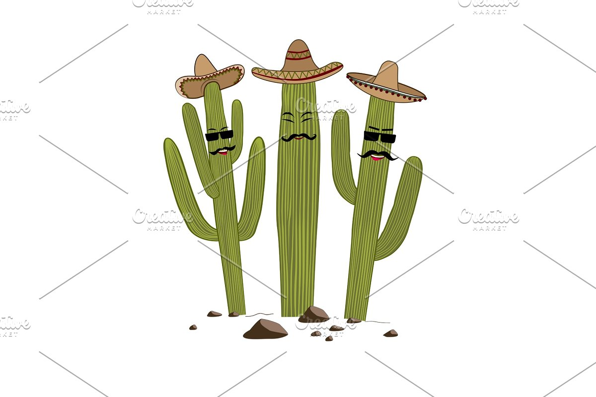 Three cute cartoon Saguaro cactus in