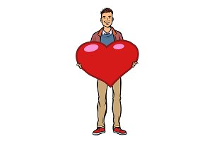 young man with valentine heart