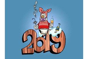 2019 happy new year. pig costume