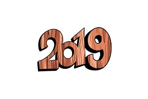 2019 happy new year wooden isolate