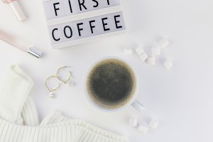 But first coffee text on lightbox wi