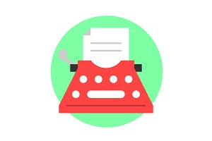 Typewriter flat icon