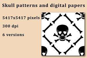 Skull patterns and digital papers