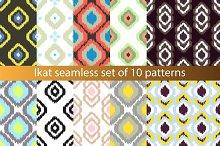Ikat seamless pattern set of 10