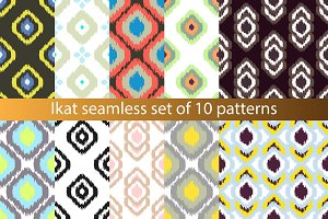 Ikat seamless pattern set of 10