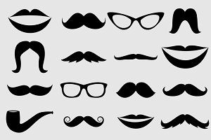 Mustache & Lips Vectors and Clipart
