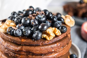 Stack of homemade chocolate pancakes