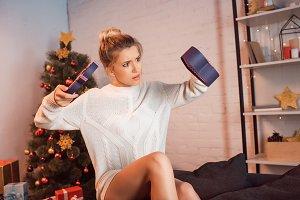woman at home on Christmas