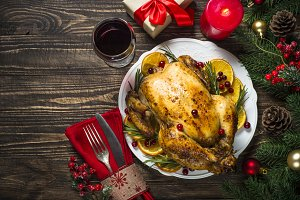Chrismas chicken baked with
