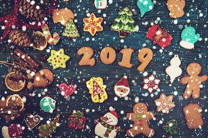 Gingerbreads for new 2019 years