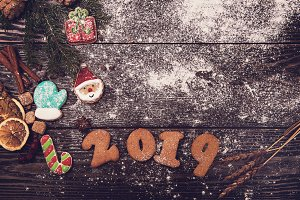Different ginger cookies 2019 year