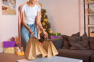 Woman spending time on Christmas