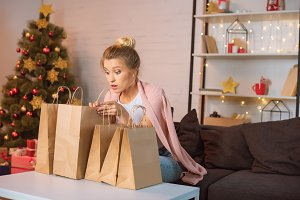 Woman spending time on Christmas