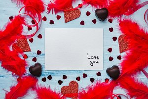 Note with sweet words of love. Flat