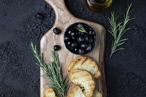 olives and toast