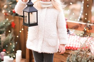 Girl with Christmas decor