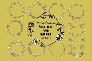 Hand Drawn Wreath and Laurel Vectors