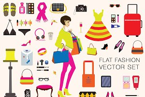 Fashion vector illustrations set.
