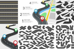 Roadmap infographics, road elements
