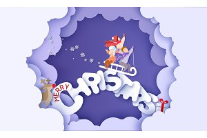 Merry Christmas design card with