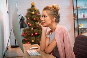 Woman at Christmas time