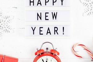 Happy New Year composition alarm clo