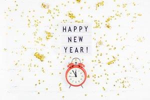 New Year composition alarm clock gol