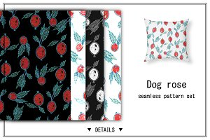 Dog rose patterns set