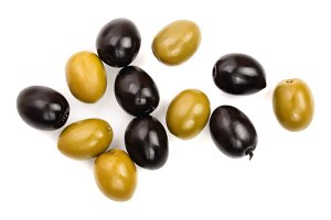 Green and black olives isolated on a