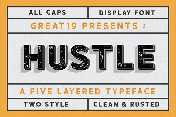 Fonts - HUSTLE | 5 layers display font