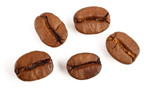 roasted coffee beans isolated on