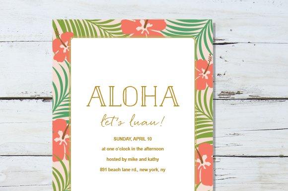 summer aloha invite invitation templates creative market