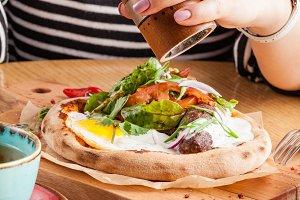 American Breakfast Sausage Egg Ham B