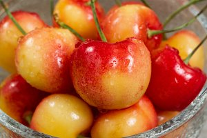 Rainier Cherries in glass bowl