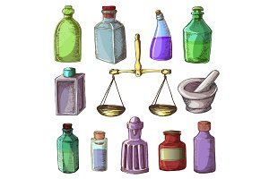 Pharmacy bottles vector vintage