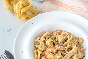 Portion of Shrimp Alfredo Pasta