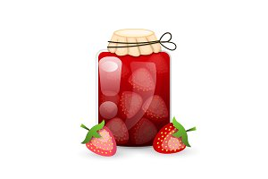 Strawberry Jam jar is flat style