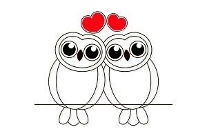 Loving owls birds night drawn lines