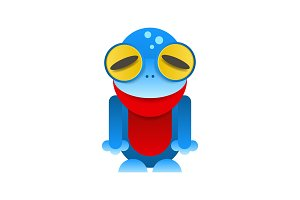 Frog tropical blue animal cartoon