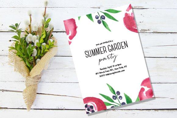 watercolor summer invitation invitation templates creative market