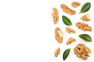 peelled Walnuts with leaves isolated